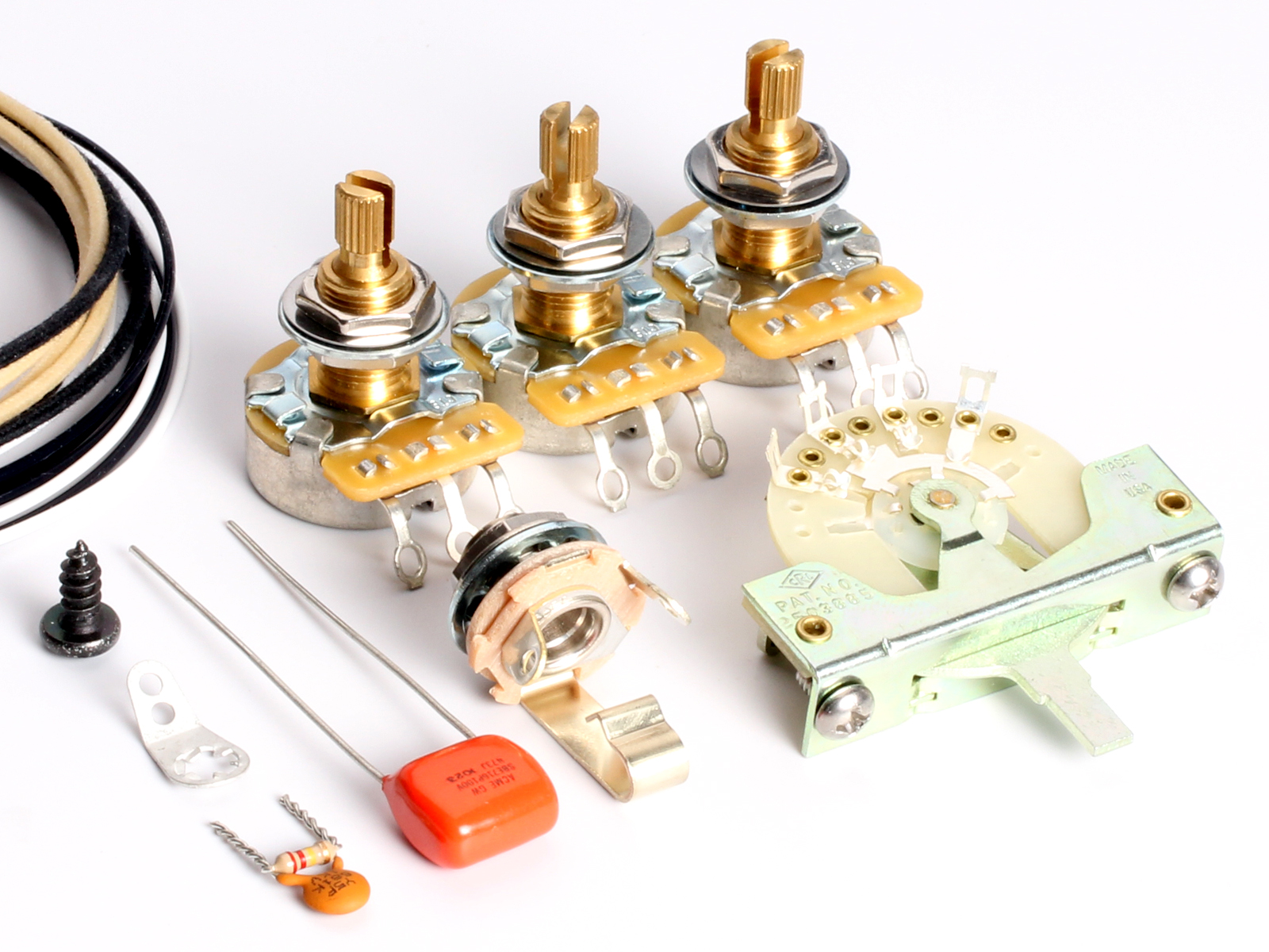 ToneShapers Wiring Kit, Stratocaster, SSS1L (Blender - Long Pots)